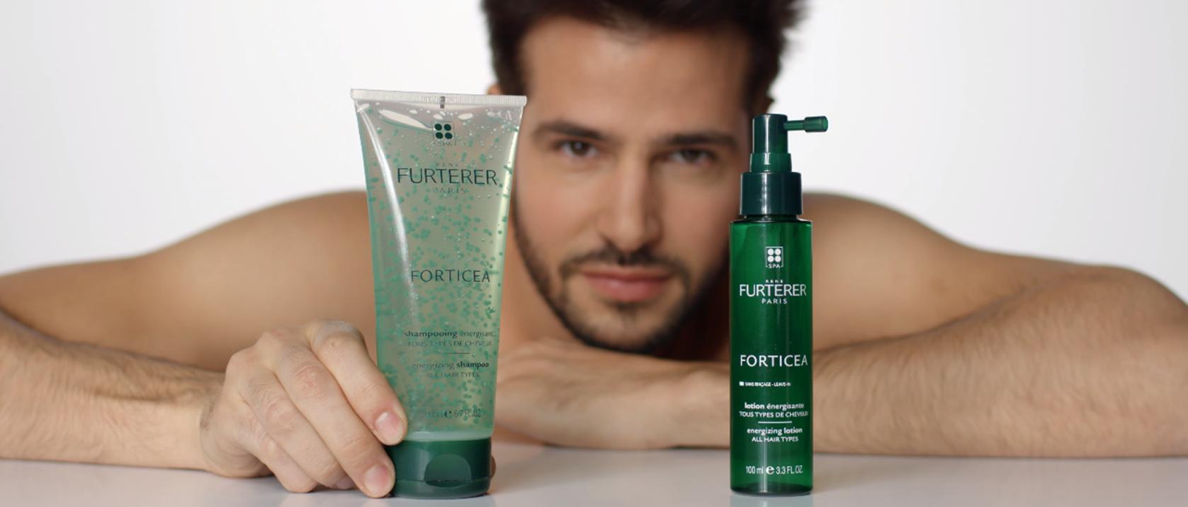 Application du shampooing énergisant Forticea | René Furterer